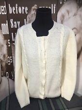 "Ladies Vintage Cardigan Aran Wool Chunky Cable Knit Cream M-L UK 12/14  C40"""