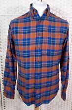 Lands End Blue Orange Tartan Check Shirt S M Flannel Western Grunge Plaid 90s
