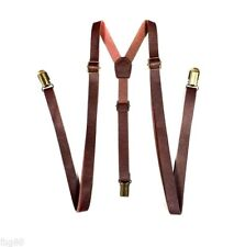 NEW Punk Skinny Brown Leather Vintage SUSPENDERS SUPER NARROW 1/2 ""