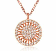 Women's Girls Sunray Circle Pendant Necklace Encrusted Crystals Rose Gold UK