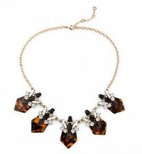 NEW Cut Glass Crystal Geometric Tortoise Shell Statement Necklace Collar 18""