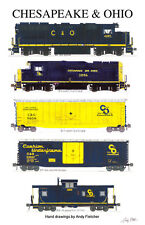 """Chesapeake & Ohio Locomotives and Train 11""""x17"""" Poster by Andy Fletcher signed"""