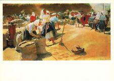 1985 Russian Socialist Realism card GRAINS by T.Yablonskaya Happy Women Harvest