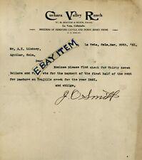 1921 CATTLE La Veta Colorado LETTERHEAD W.E. Smith & Sons CUCHAARA VALLEY RANCH