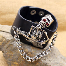 Gothic Punk Rock Skeleton Guitar Chain Design PU Leather Cuff Bracelet Bangle