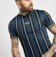 STATUS Mens Cole Stripe T-Shirt - BLACK (SIZES - XS / S / M) **Was £35 *New