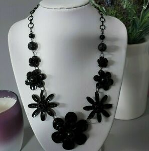 Statement Mod Black Metal Flower Beaded Chain Costume Necklace Punk Goth