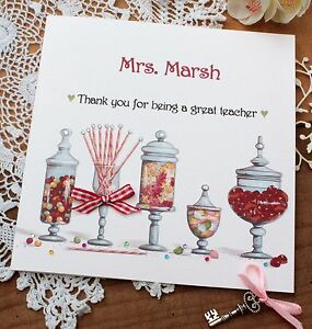 "Handmade Personalised Thank You Teacher Teaching Assistant Card ""Sweet Jars"""