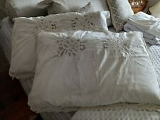 More details for stunning pair of vintage tape lace pillowcases -with cut work inserts
