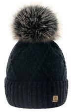 Damenmütze Beanie Scarf Faux Pom Pom Warm Winter Natural Wool Mohair Micropolar