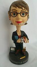 Administrative Assistant Bobble Head Office Woman Black Dress Suit and Glasses