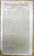 1684 London newspaper w coverage of the European War between France & Spain