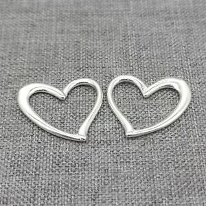 8pcs of 925 Sterling Silver Plain Love Heart Connector Charms for Necklace