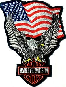 "Harley Davidson Silver Eagle Upwing w/Usa Flag B&S Patch 4 1/4"" x 6 1/2"""