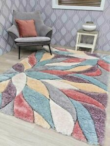 Pink Duckegg Multi Colour Thick Silky Pile Carpet Rugs Modern Shaggy Heavy Mats