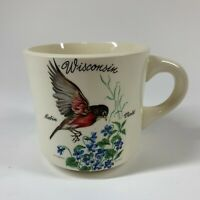 Vintage Illustrated Wisconsin State Bird & Flower Robin & Violet Coffee Mug Cup