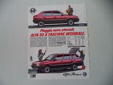 advertising Pubblicità 1985 ALFA ROMEO 33 1.5 BERLINA/GIARDINETTA