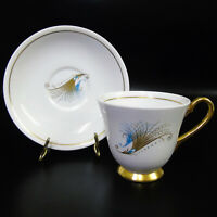 1950's Windsor Caribbean TEA CUP & SAUCER Mid Century Gold Blue Feathers England