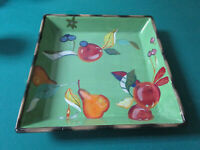 Tracy Porter  CHIP IN DIP VIRIDIAN  SQUARE TRAY BOWL FLORAL FRUITS