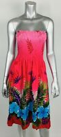 HIBISCUS COLLECTION HAWAII Sun Dress XS S Pink Floral Strapless Tube