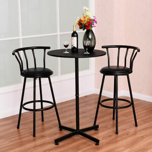 Bar Table Set with 2 Stools Bistro Pub Kitchen Dining Furniture Black3 Piece
