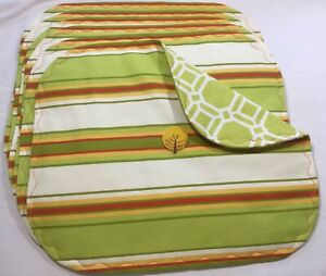 6 Colorful Placemats Handmade Reversible New