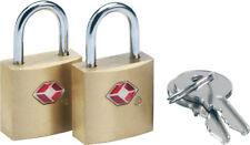 Go Travel  Sentry TSA accepted Brass  Luggage Padlock-2 Key Twin Pack  (Ref 350)