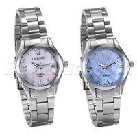 Women's Stainless Steel Band Roman Numberals Rhinestone Dial Quartz Wrist Watch