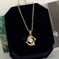 Cute Couple Dolphin 18k Gold Plated Crystal Necklace Lady Pendant Chain Jeweller