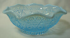 L.E. Smith Diamond Hobstar Blue Opalescent Bowl