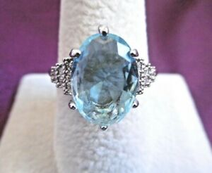 LOVELY SOLID 925 SILVER 4 CARAT AQUAMARINE & CUBIC ZIRCONIA RING UK SIZE T 1/2