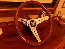 "BMW 1600 1800 2002 Baur 13.75"" Wood Steering Wheel  Deep Dish 3"" NARDI NEW"