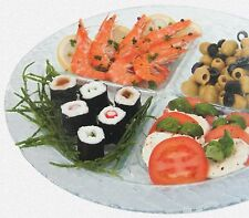 Large Round 35cm Glass Serving Platter With 4 Sections Party Snacks Sushi Tapas