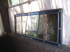"Antique Large Mirror Clear & Etched Blue Glass Wall Mirror 59"" x 25"" Art Deco"