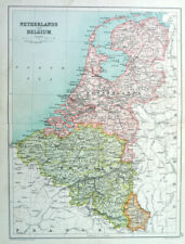 Antique Map Of Netherlands & Belgium 1910 John Bartholomew & Co