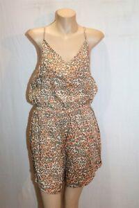 O'Neill Brand Peach Leopard Print Elastic Waist Playsuit Size 12 BNWT #RD68