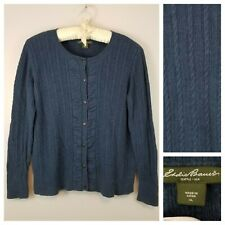 Eddie Bauer Women's XL Blue Button Front Cardigan Sweater Soft Cable Knit