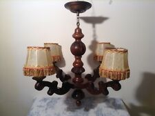 Vintage French Carved Wooden Farmhouse Large 4 Arm Chandelier Ceiling Light