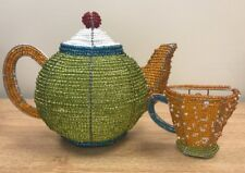 BEADWORX - TEAPOT AND CUP HANGER - HAND CRAFTED ~ BEAD WORK - BEADED GIFT