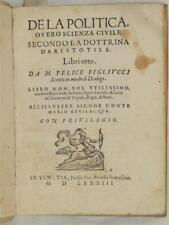 FELICE FIGLIUCCI DE LA POLITICA FILOSOFICA COMMENTO ARISTOTELE 1583 FILOSOFIA