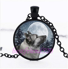 Norwegian Elkhound Glass Pendant Black Necklace for man woman Jewelry#N49