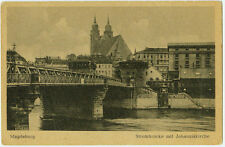 Alte Ansichtskarte Postkarte Magdeburg Strombrücke mit Johanniskirche s/w
