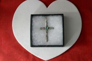 Beautiful 925 Silver Cross With Marcasite & Blue Topaz 4.5 Gr. 5.3 x 3 Cm. Wide