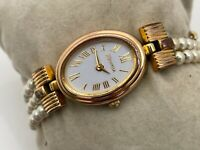Majorica Swiss Watch 14K Gold Electroplated Quartz Pearl Wristwatch Read descri