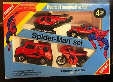Vintage 1984 Buddy L SPIDER-MAN 4 Vehicle Set Brute Complete Car Van Copter Bike