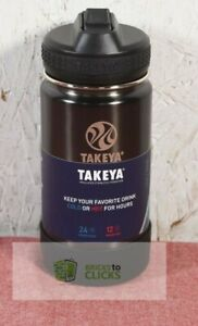 Takeya 14oz Actives Insulated Stainless Steel Water Bottle with Straw Lid, Slate