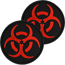 2x Biohazard Red PVC Morale Patch 3D Tactical Airsoft Badge Hook #16 Airsoft