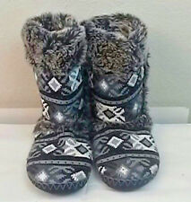Mudd Winter Boots Fur Argyle Black gray white size 9 10 Large