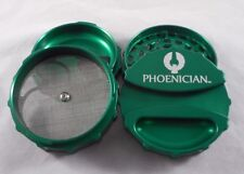 """Large 3.22"""" Green Phoenician 4 Part Grinder with Paper Holder & Rubber Bumpers"""