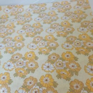 Vintage St Michael  1970s  Floral Flat Sheet yellow  Bedsheet Bedding